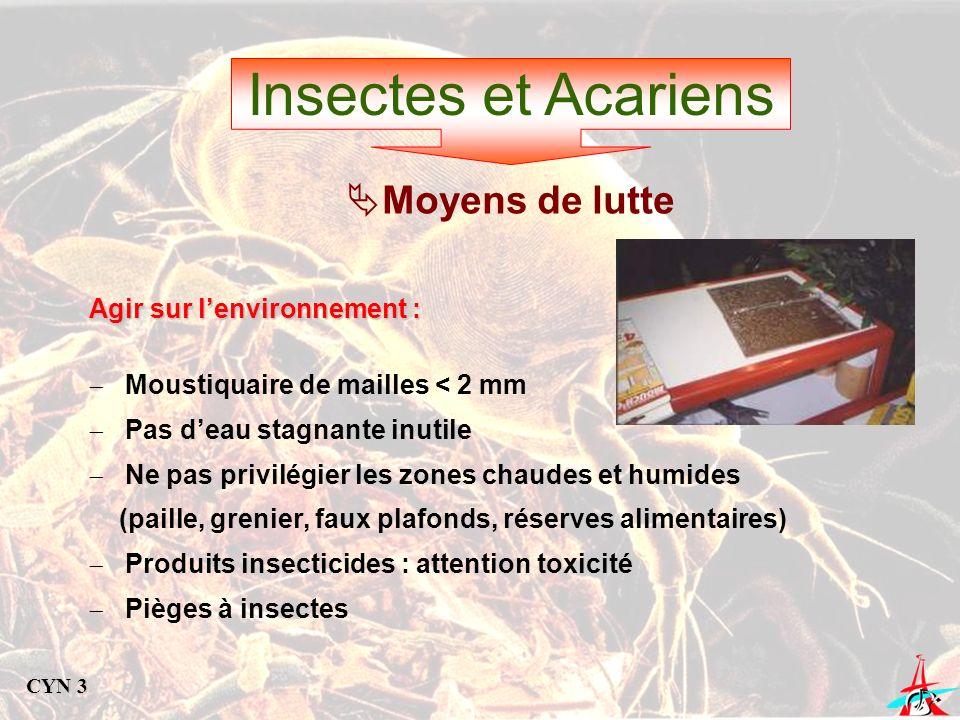 Insectes et Acariens Moyens de lutte Agir sur l'environnement :