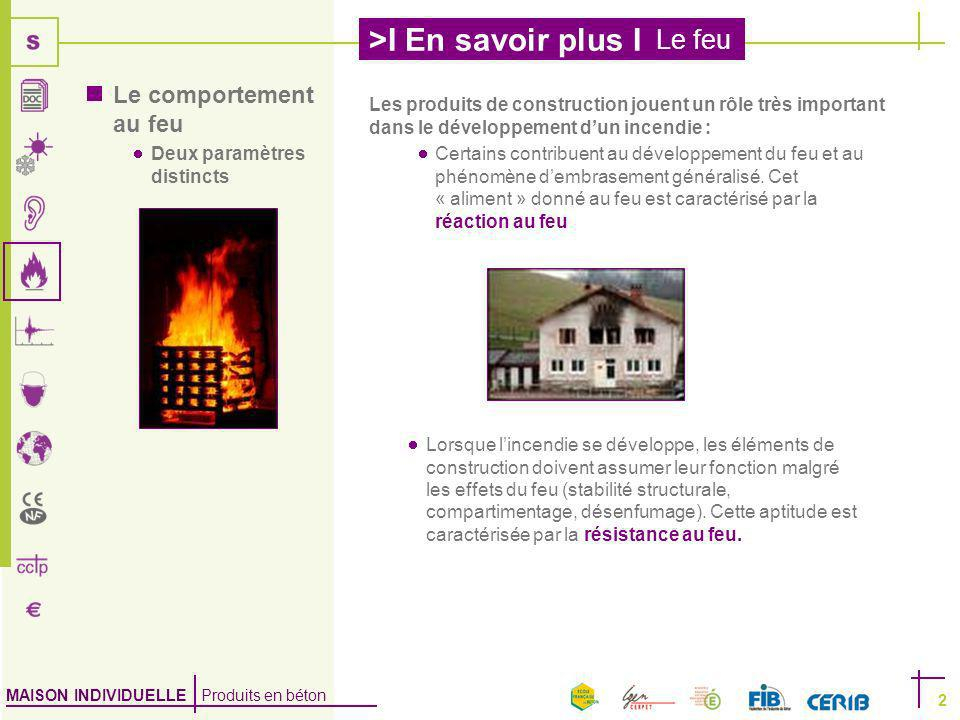 Le comportement au feu Deux paramètres distincts. Les produits de construction jouent un rôle très important dans le développement d'un incendie :