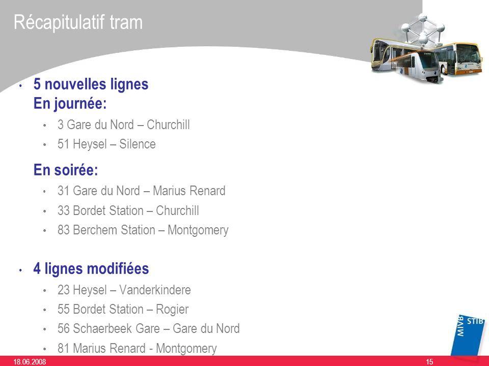 Récapitulatif tram 5 nouvelles lignes En journée: En soirée: