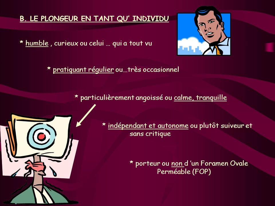 B. LE PLONGEUR EN TANT QU' INDIVIDU