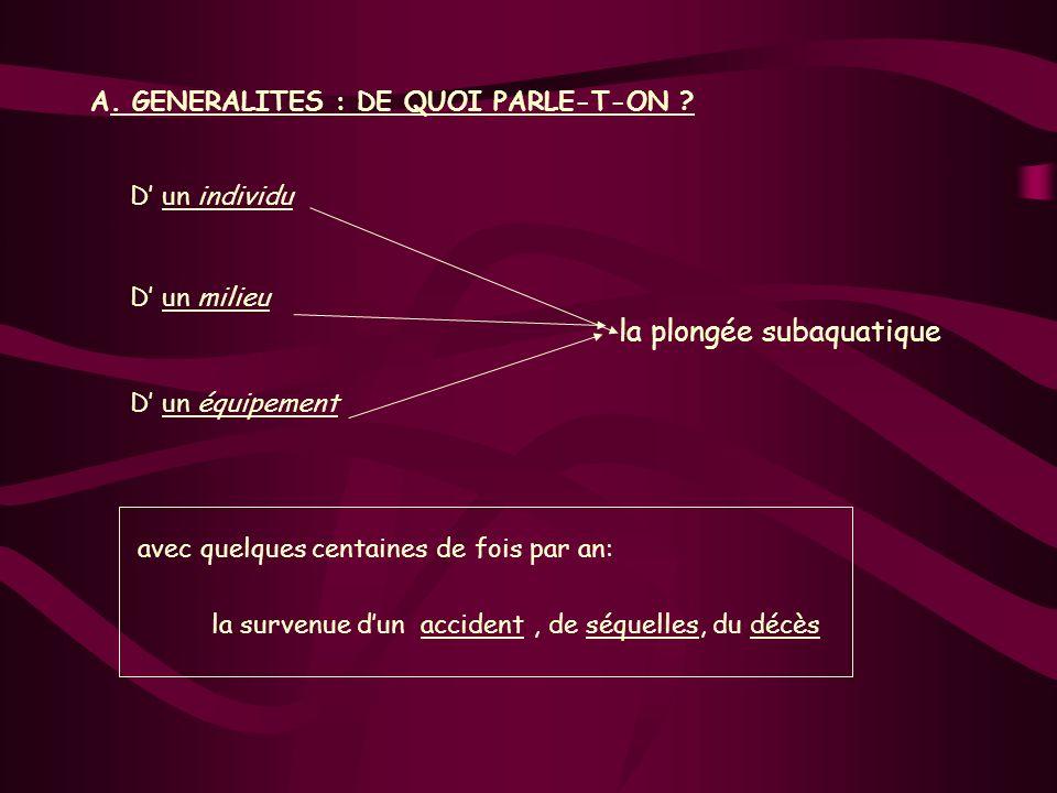 A. GENERALITES : DE QUOI PARLE-T-ON D' un individu