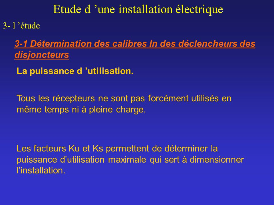 Etude d 'une installation électrique