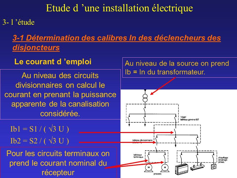 Pour les circuits terminaux on prend le courant nominal du récepteur