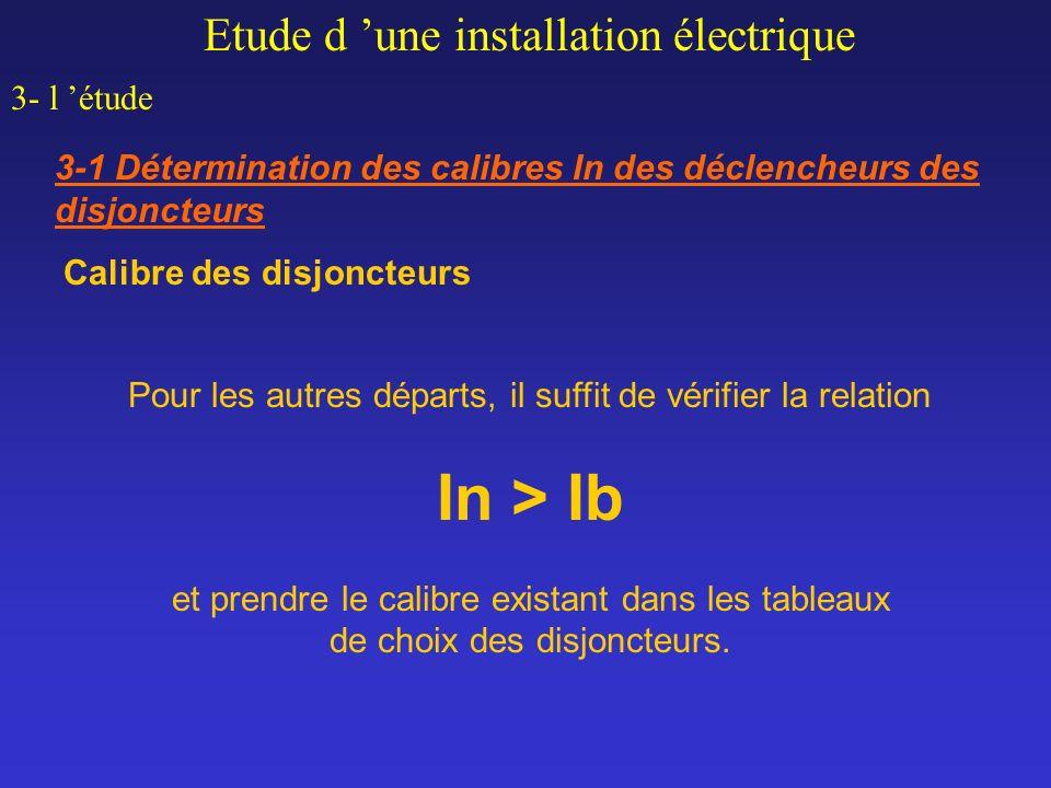 In > Ib Etude d 'une installation électrique 3- l 'étude