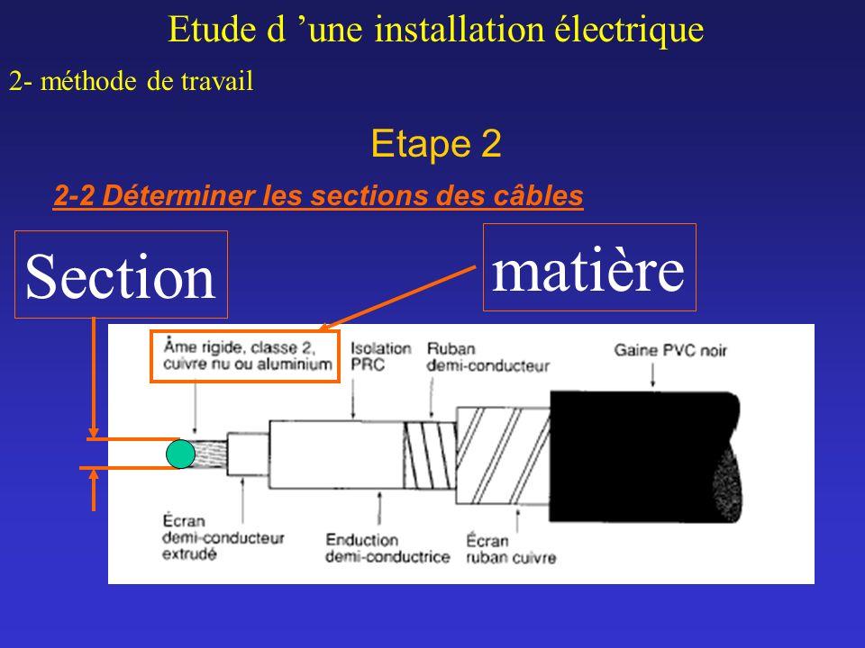matière Section Etude d 'une installation électrique Etape 2