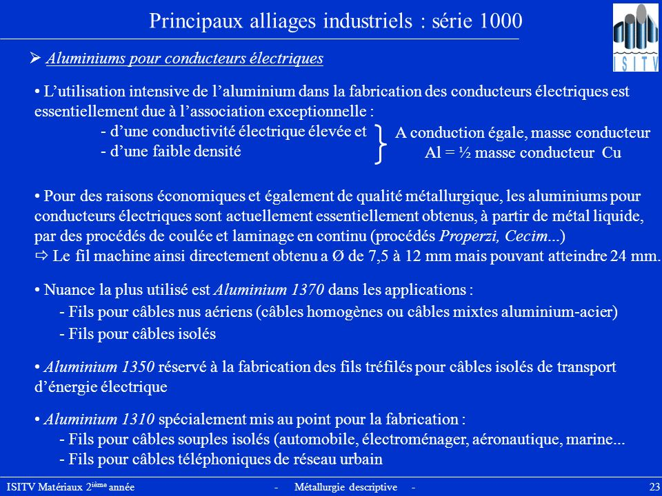 Principaux alliages industriels : série 1000