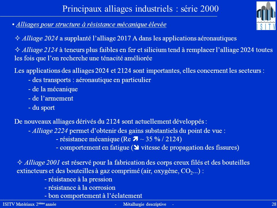Principaux alliages industriels : série 2000