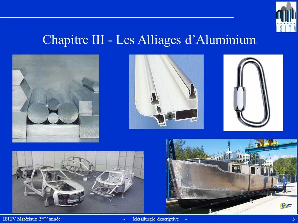 Chapitre III - Les Alliages d'Aluminium