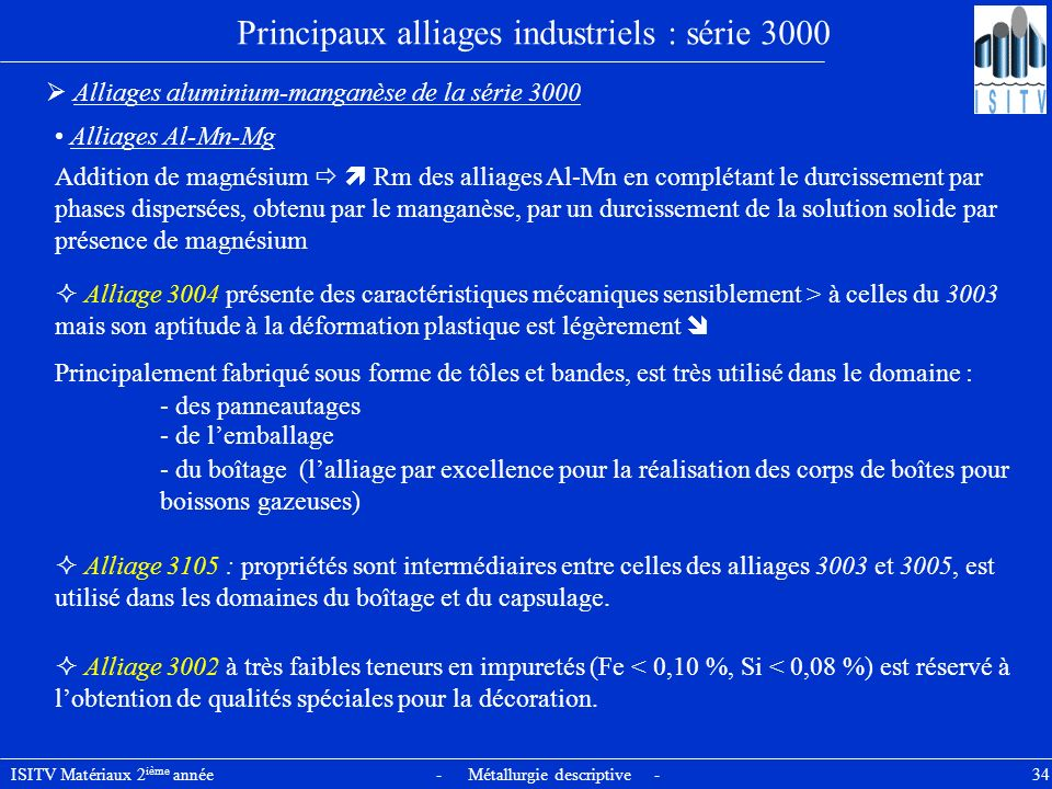 Principaux alliages industriels : série 3000
