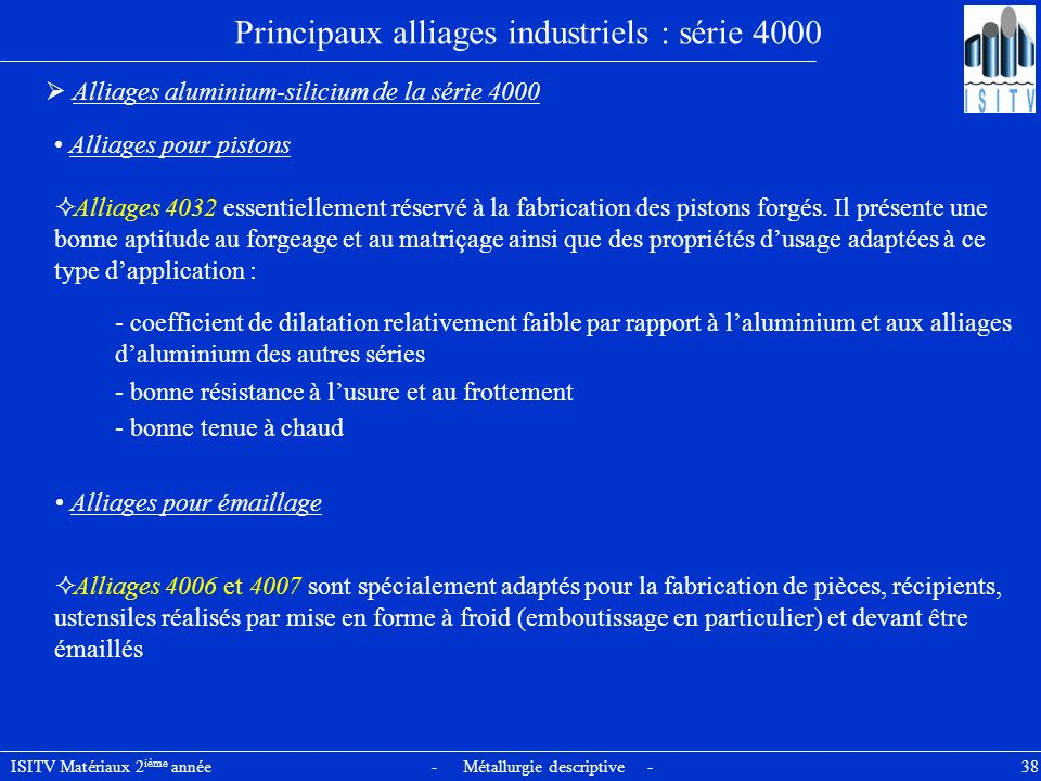 Principaux alliages industriels : série 4000