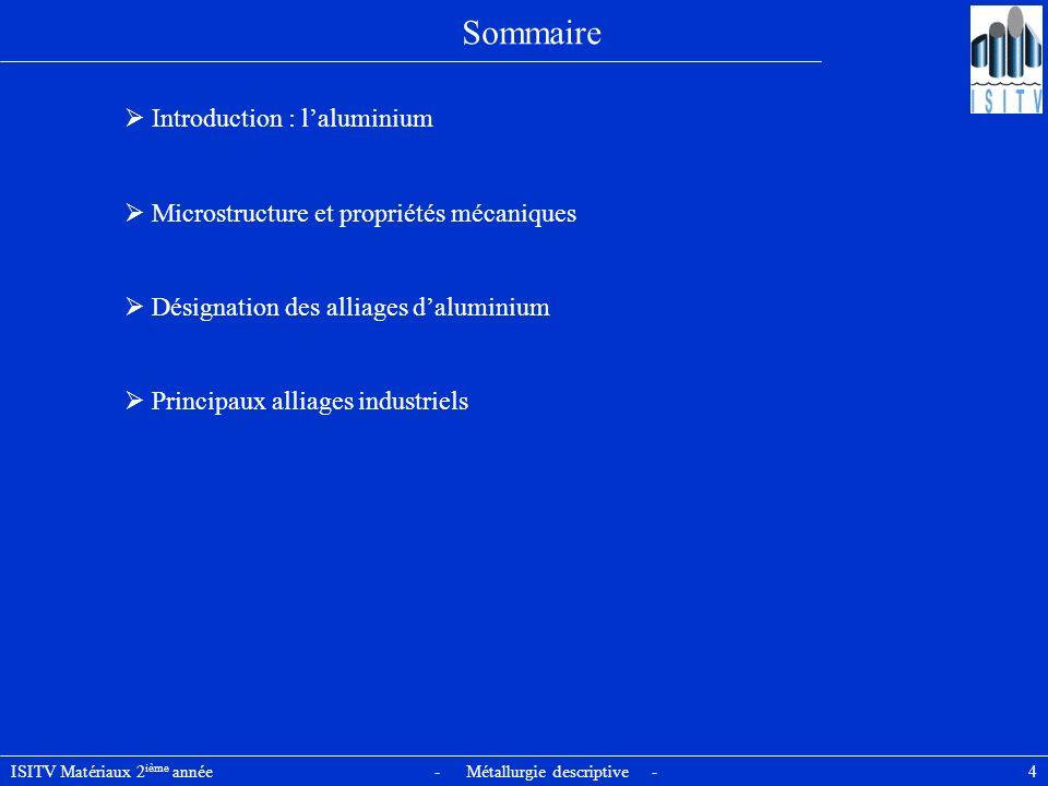 Sommaire  Introduction : l'aluminium