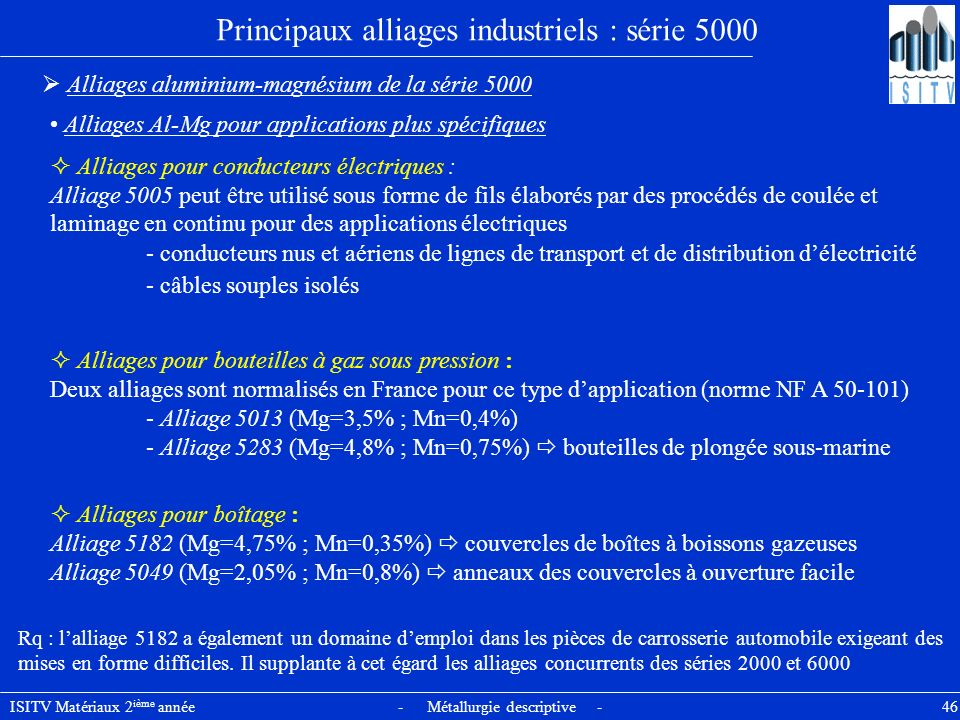 Principaux alliages industriels : série 5000