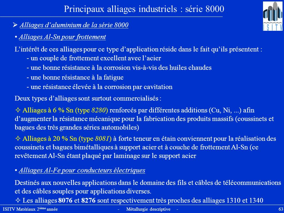 Principaux alliages industriels : série 8000