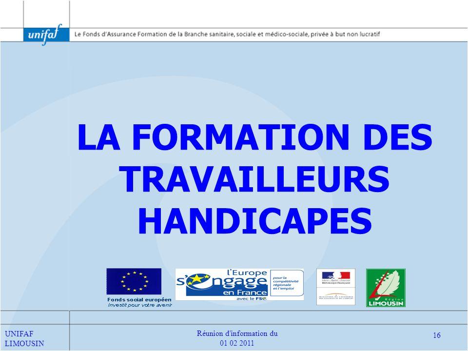 LA FORMATION DES TRAVAILLEURS HANDICAPES
