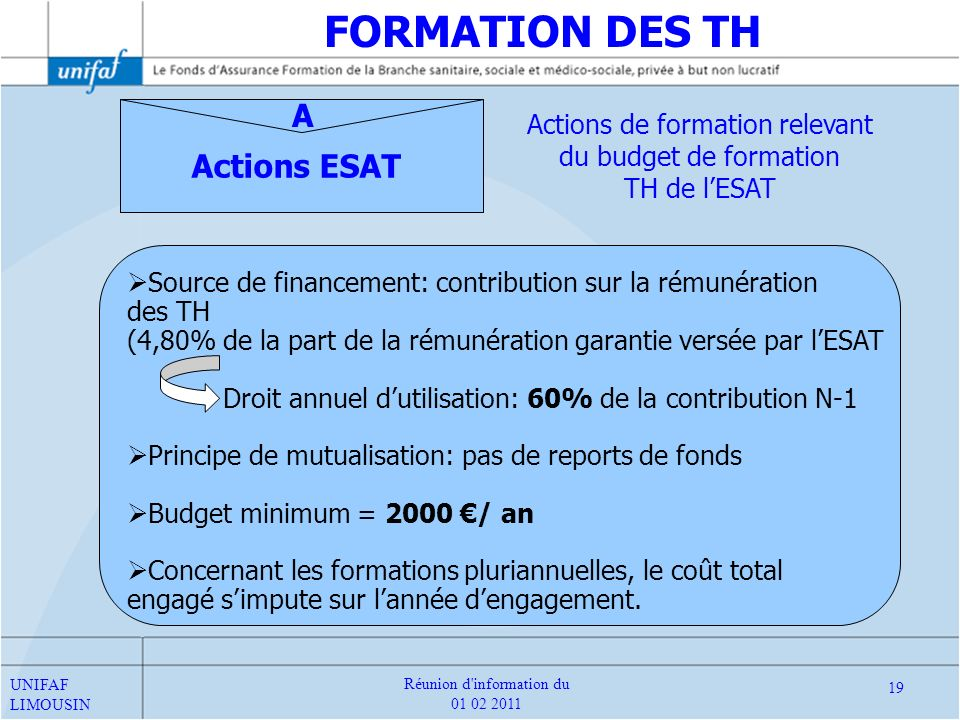 FORMATION DES TH A Actions ESAT