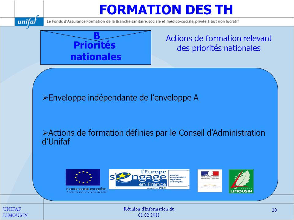 FORMATION DES TH B Priorités nationales