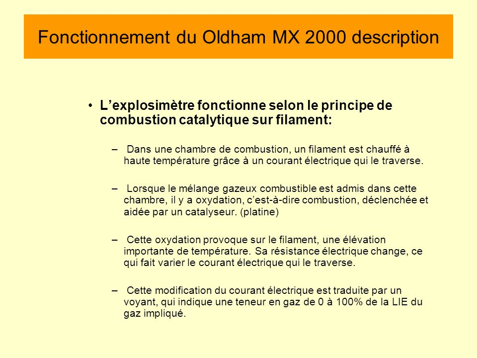 Fonctionnement du Oldham MX 2000 description