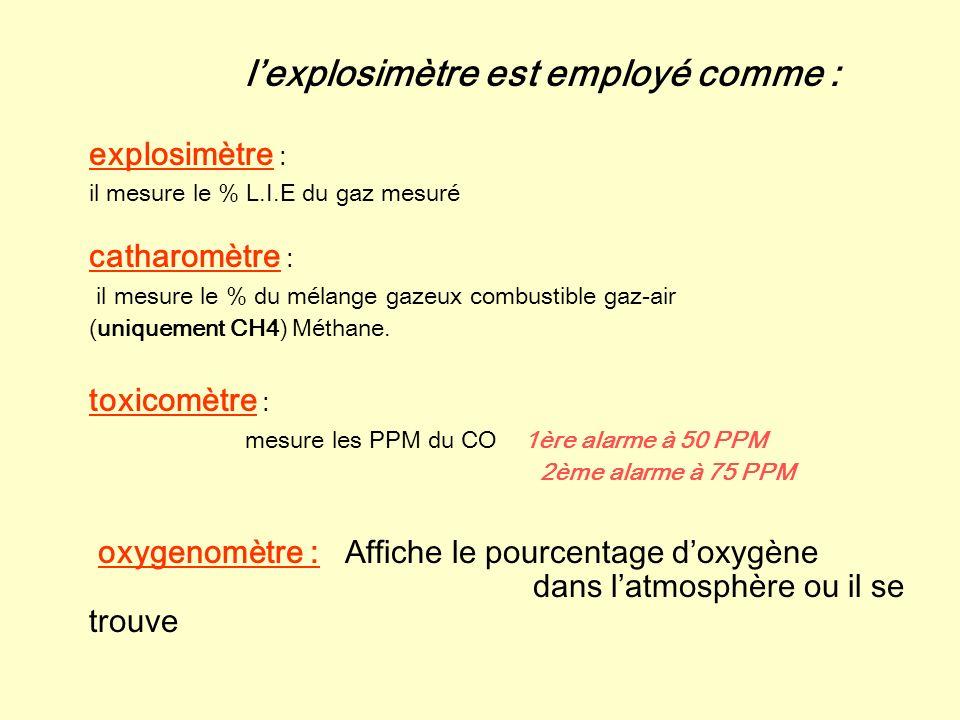 l'explosimètre est employé comme :
