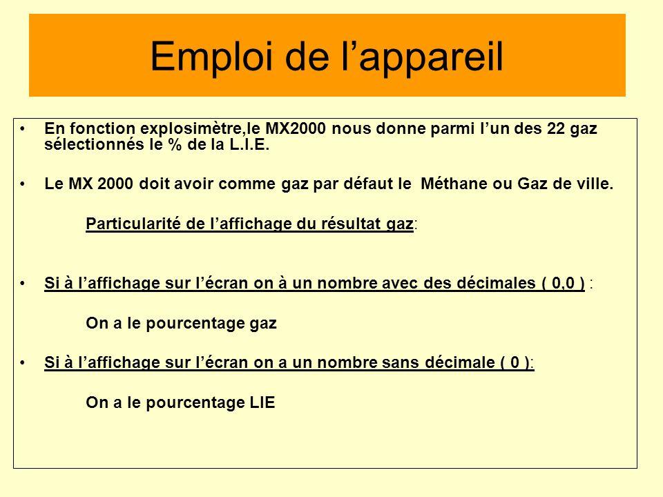 Emploi de l'appareil En fonction explosimètre,le MX2000 nous donne parmi l'un des 22 gaz sélectionnés le % de la L.I.E.