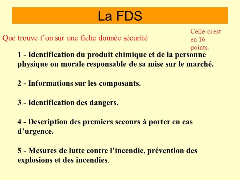 La FDS Que trouve t'on sur une fiche donnée sécurité