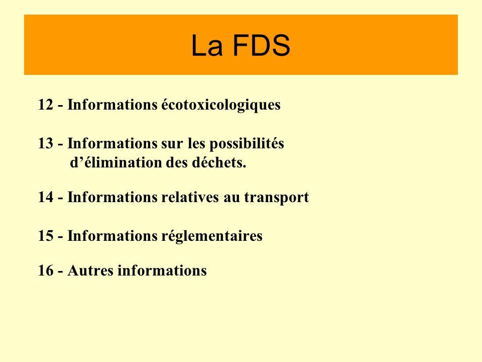 La FDS 12 - Informations écotoxicologiques