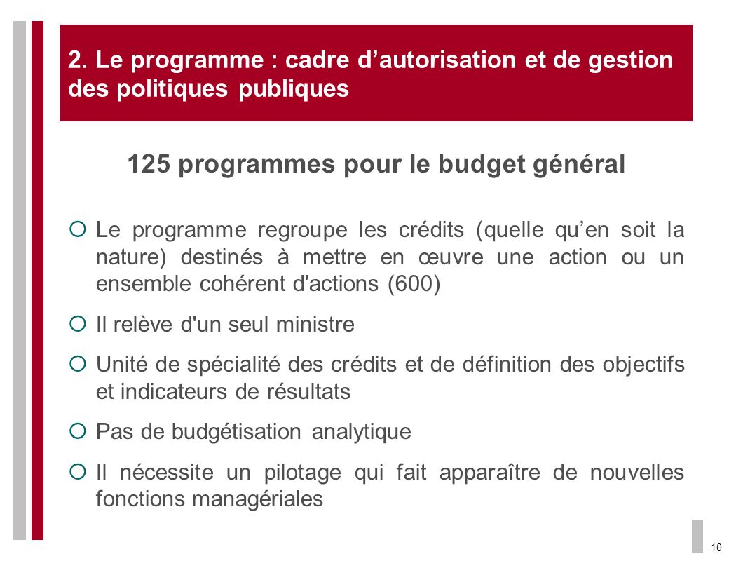 125 programmes pour le budget général