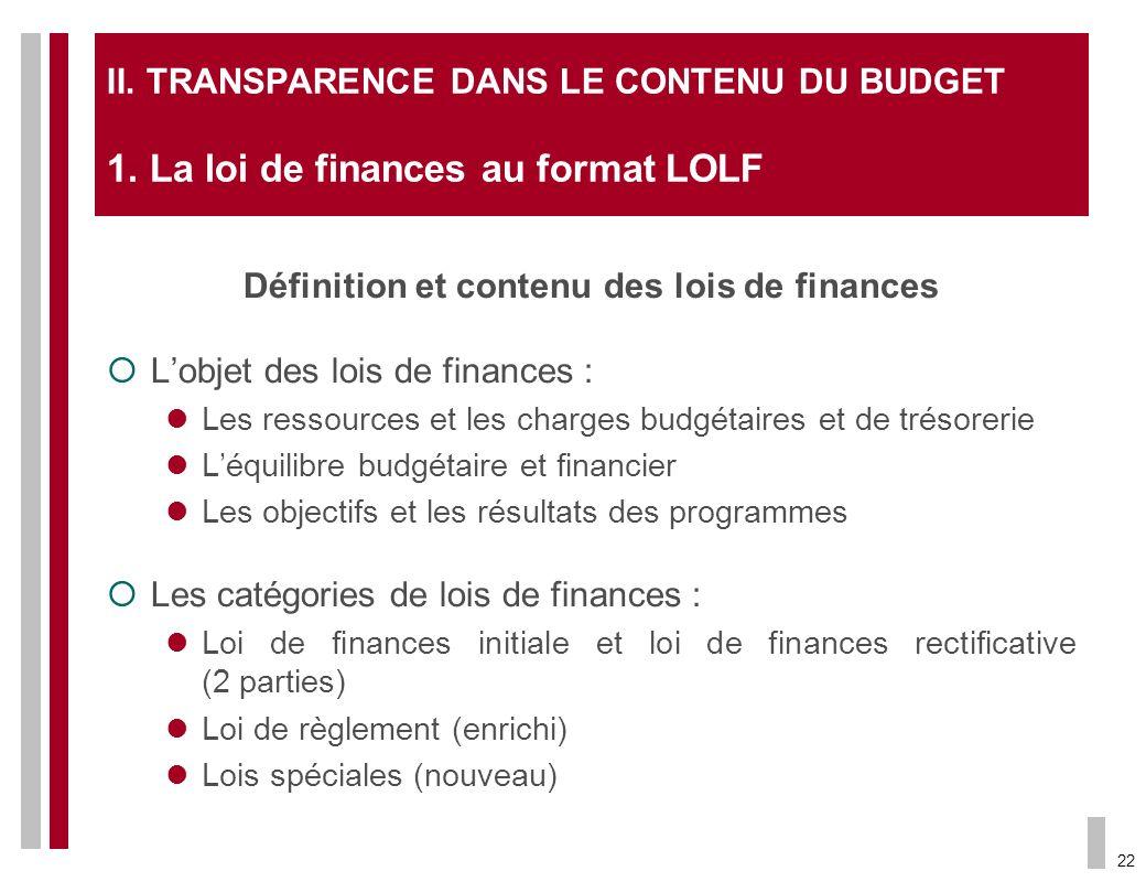 Définition et contenu des lois de finances