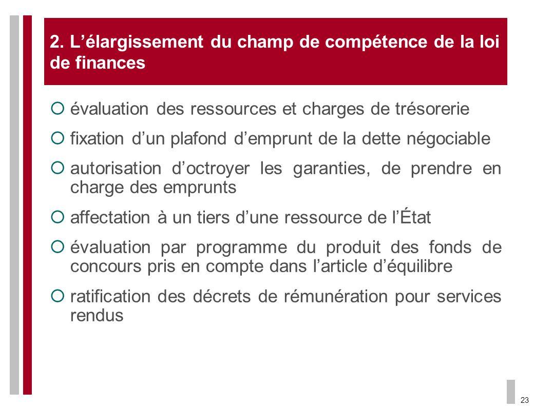 2. L'élargissement du champ de compétence de la loi de finances