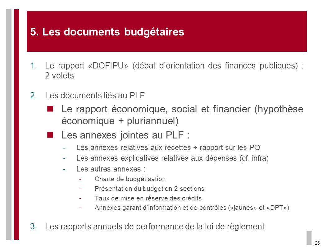 5. Les documents budgétaires