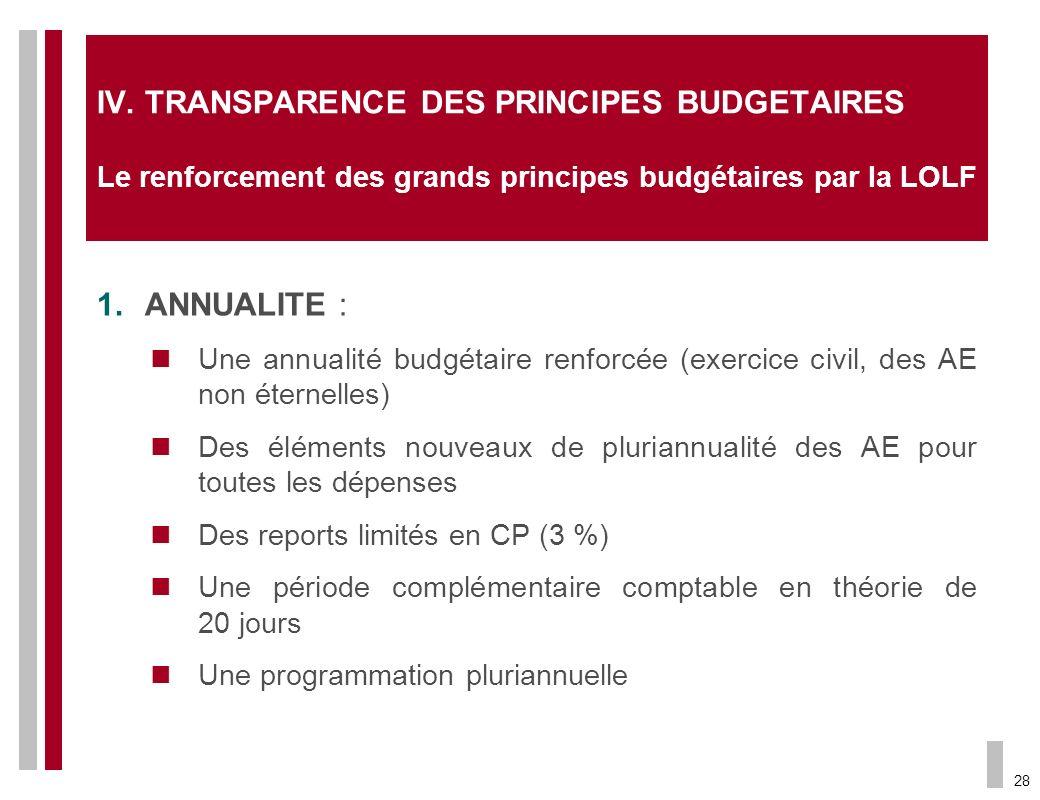 IV. TRANSPARENCE DES PRINCIPES BUDGETAIRES Le renforcement des grands principes budgétaires par la LOLF