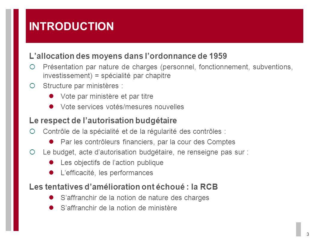 INTRODUCTION L'allocation des moyens dans l'ordonnance de 1959