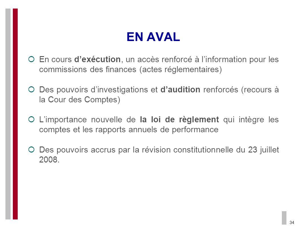 EN AVAL En cours d'exécution, un accès renforcé à l'information pour les commissions des finances (actes réglementaires)