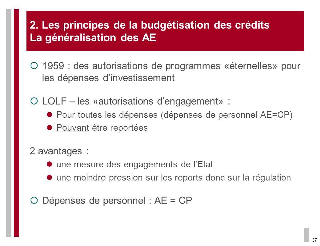 2. Les principes de la budgétisation des crédits La généralisation des AE