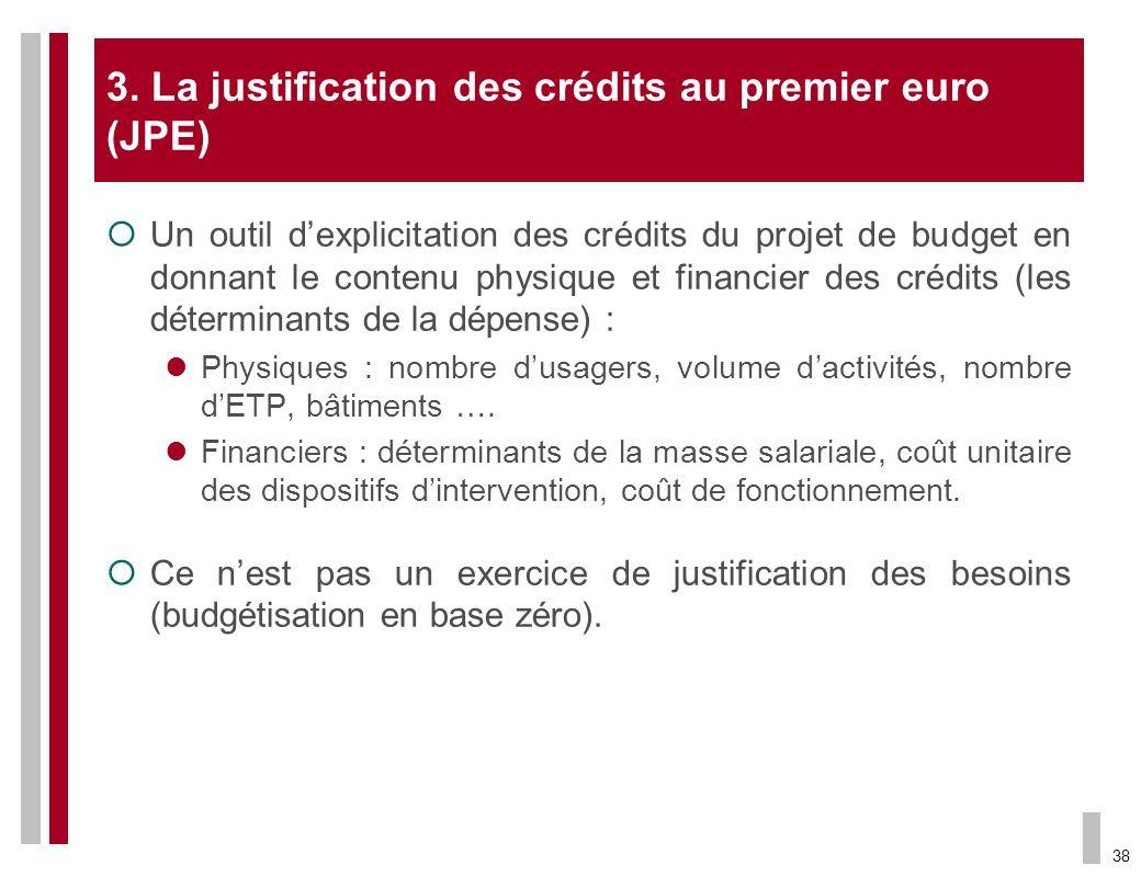 3. La justification des crédits au premier euro (JPE)