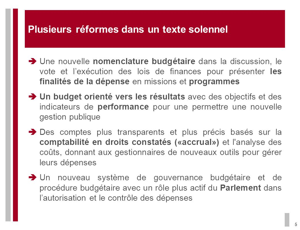 Plusieurs réformes dans un texte solennel