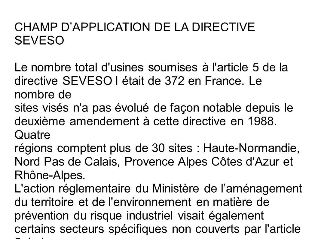 CHAMP D'APPLICATION DE LA DIRECTIVE SEVESO