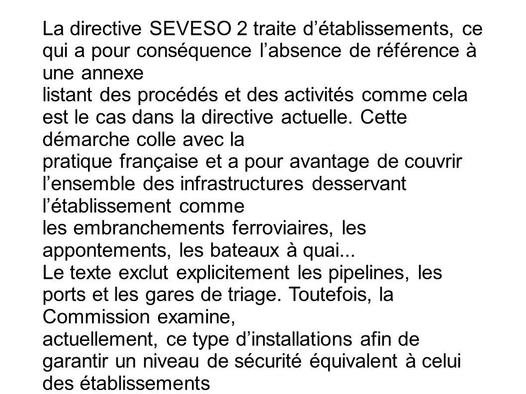 La directive SEVESO 2 traite d'établissements, ce qui a pour conséquence l'absence de référence à une annexe