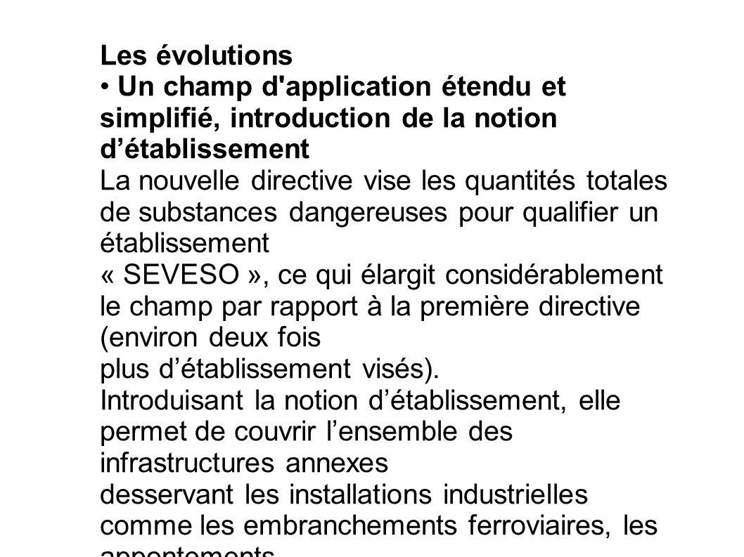 Les évolutions • Un champ d application étendu et simplifié, introduction de la notion d'établissement.