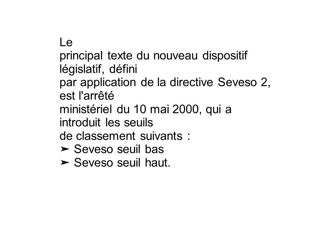 Le principal texte du nouveau dispositif législatif, défini. par application de la directive Seveso 2, est l arrêté.