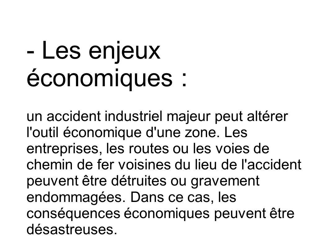 - Les enjeux économiques :