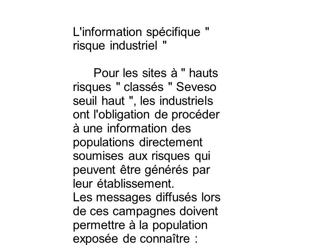 L information spécifique risque industriel