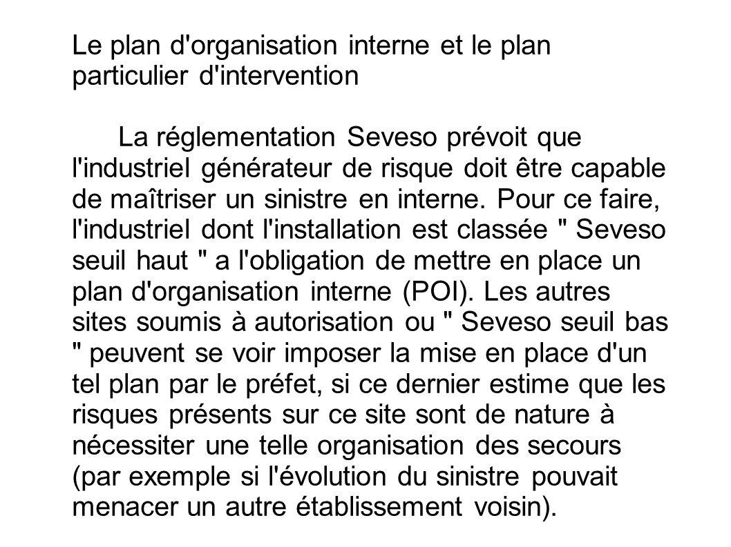 Le plan d organisation interne et le plan particulier d intervention