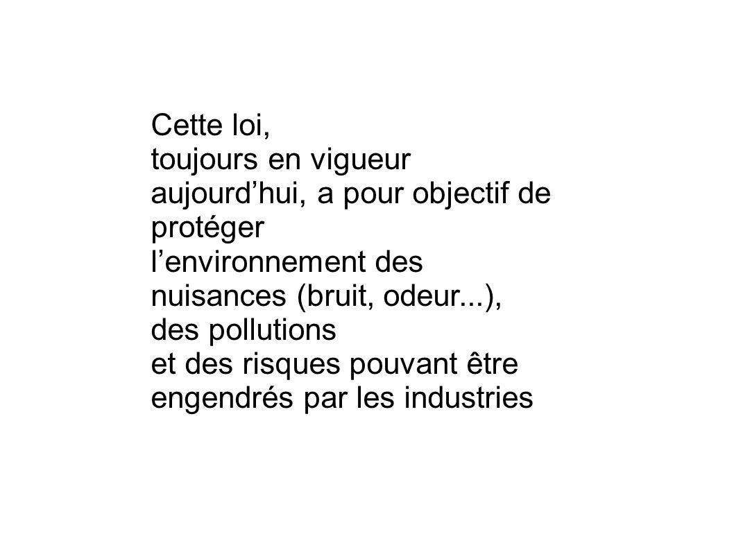 Cette loi, toujours en vigueur aujourd'hui, a pour objectif de protéger. l'environnement des nuisances (bruit, odeur...), des pollutions.