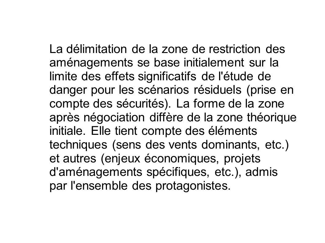 La délimitation de la zone de restriction des aménagements se base initialement sur la limite des effets significatifs de l étude de danger pour les scénarios résiduels (prise en compte des sécurités).