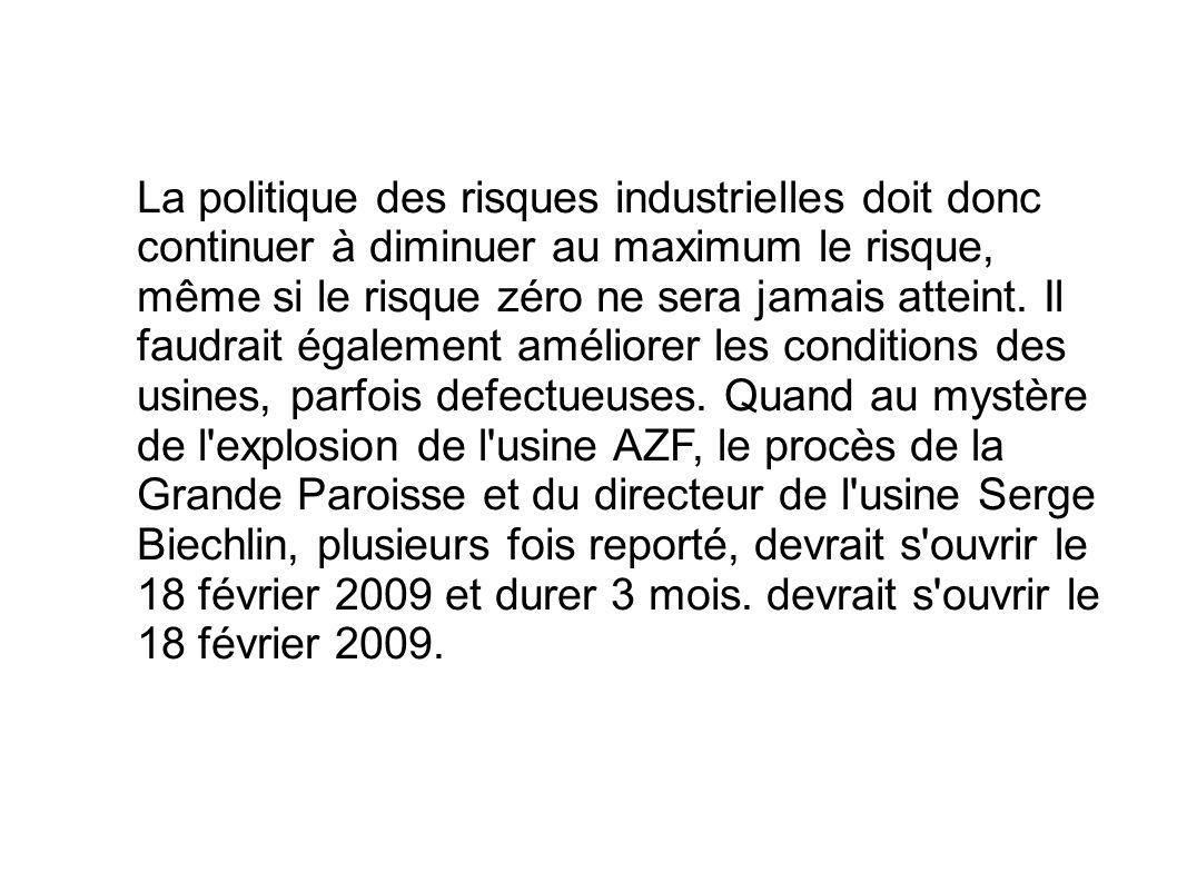 La politique des risques industrielles doit donc continuer à diminuer au maximum le risque, même si le risque zéro ne sera jamais atteint.