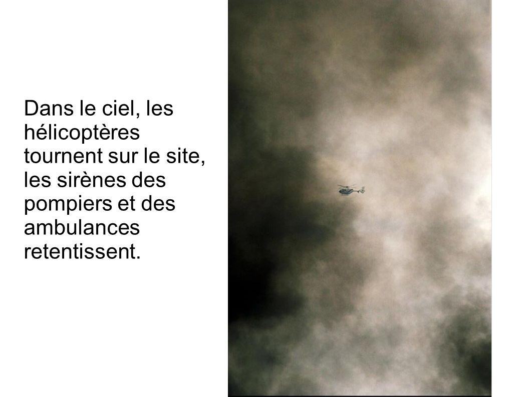 Dans le ciel, les hélicoptères tournent sur le site, les sirènes des pompiers et des ambulances retentissent.