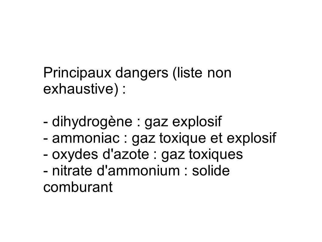 Principaux dangers (liste non exhaustive) :
