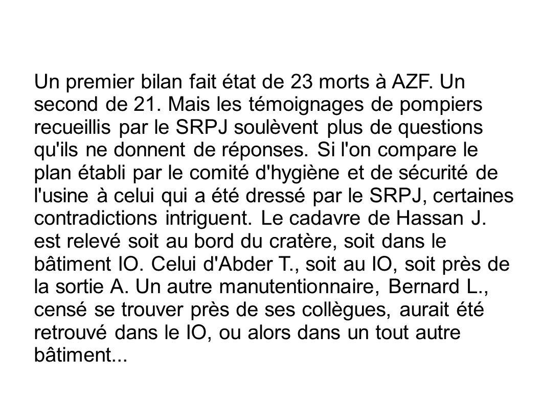 Un premier bilan fait état de 23 morts à AZF. Un second de 21