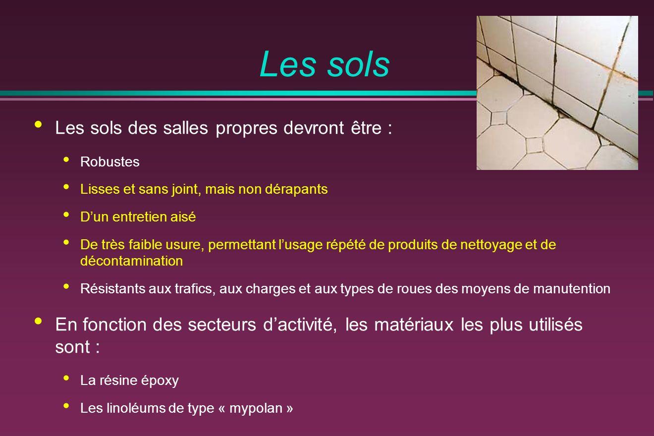 Les sols Les sols des salles propres devront être :