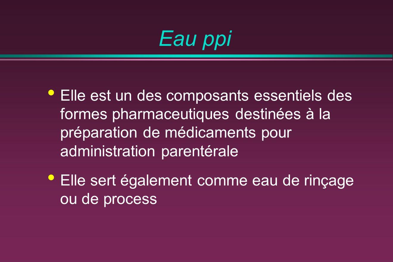 Eau ppi Elle est un des composants essentiels des formes pharmaceutiques destinées à la préparation de médicaments pour administration parentérale.